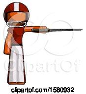 Orange Football Player Man Standing With Ninja Sword Katana Pointing Right