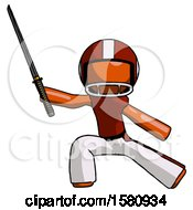 Orange Football Player Man With Ninja Sword Katana In Defense Pose