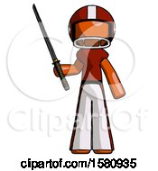 Orange Football Player Man Standing Up With Ninja Sword Katana