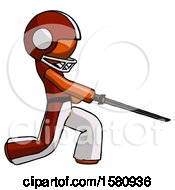 Orange Football Player Man With Ninja Sword Katana Slicing Or Striking Something