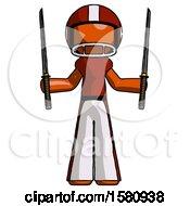 Orange Football Player Man Posing With Two Ninja Sword Katanas Up