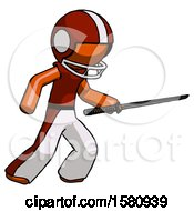 Orange Football Player Man Stabbing With Ninja Sword Katana
