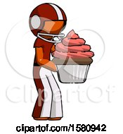 Poster, Art Print Of Orange Football Player Man Holding Large Cupcake Ready To Eat Or Serve