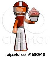 Orange Football Player Man Presenting Pink Cupcake To Viewer