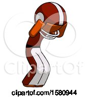 Orange Football Player Man With Headache Or Covering Ears Turned To His Right