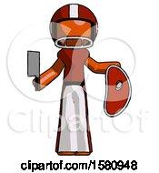 Poster, Art Print Of Orange Football Player Man Holding Large Steak With Butcher Knife
