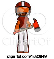 Orange Football Player Man Holding Red Fire Fighters Ax