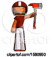 Orange Football Player Man Holding Up Red Firefighters Ax