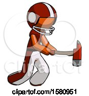 Orange Football Player Man With Ax Hitting Striking Or Chopping
