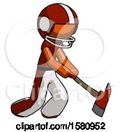 Orange Football Player Man Striking With A Red Firefighters Ax