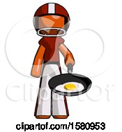 Poster, Art Print Of Orange Football Player Man Frying Egg In Pan Or Wok