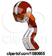 Orange Football Player Man With Headache Or Covering Ears Turned To His Left