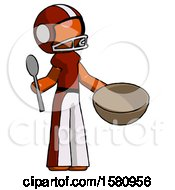 Orange Football Player Man With Empty Bowl And Spoon Ready To Make Something