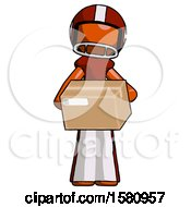 Orange Football Player Man Holding Box Sent Or Arriving In Mail