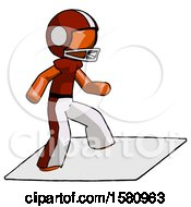 Orange Football Player Man On Postage Envelope Surfing
