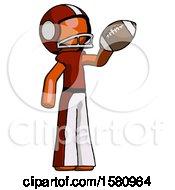 Orange Football Player Man Holding Football Up