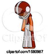 Orange Football Player Man Depressed With Head Down Turned Left