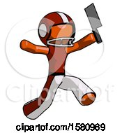 Orange Football Player Man Psycho Running With Meat Cleaver