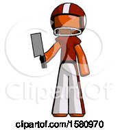 Orange Football Player Man Holding Meat Cleaver