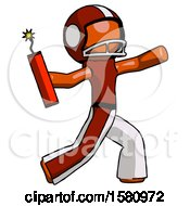 Orange Football Player Man Throwing Dynamite