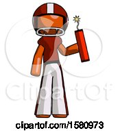 Orange Football Player Man Holding Dynamite With Fuse Lit