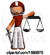 Orange Football Player Man Justice Concept With Scales And Sword Justicia Derived