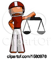 Orange Football Player Man Holding Scales Of Justice