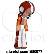 Orange Football Player Man Depressed With Head Down Turned Right