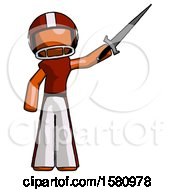 Orange Football Player Man Holding Sword In The Air Victoriously
