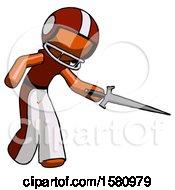 Orange Football Player Man Sword Pose Stabbing Or Jabbing