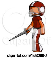 Orange Football Player Man With Sword Walking Confidently