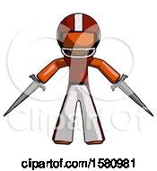 Orange Football Player Man Two Sword Defense Pose