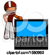 Poster, Art Print Of Orange Football Player Man Beside Large Laptop Computer Leaning Against It
