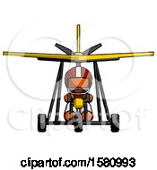 Poster, Art Print Of Orange Football Player Man In Ultralight Aircraft Front View