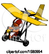 Poster, Art Print Of Orange Football Player Man In Ultralight Aircraft Top Side View