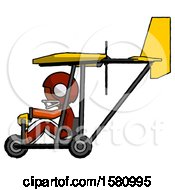 Poster, Art Print Of Orange Football Player Man In Ultralight Aircraft Side View