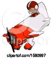 Poster, Art Print Of Orange Football Player Man In Geebee Stunt Plane Descending View