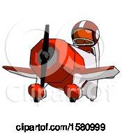 Poster, Art Print Of Orange Football Player Man Flying In Geebee Stunt Plane Viewed From Below