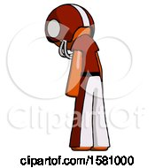 Orange Football Player Man Depressed With Head Down Back To Viewer Left