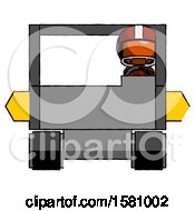 Poster, Art Print Of Orange Football Player Man Driving Amphibious Tracked Vehicle Front View