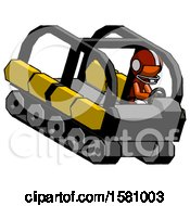 Orange Football Player Man Driving Amphibious Tracked Vehicle Top Angle View