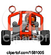 Poster, Art Print Of Orange Football Player Man Riding Sports Buggy Front View