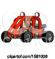 Poster, Art Print Of Orange Football Player Man Riding Sports Buggy Side Angle View