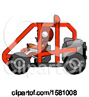Poster, Art Print Of Orange Football Player Man Riding Sports Buggy Side View