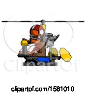 Orange Football Player Man Flying In Gyrocopter Front Side Angle View
