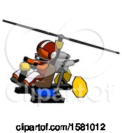 Orange Football Player Man Flying In Gyrocopter Front Side Angle Top View