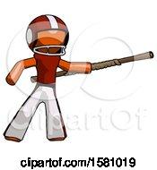 Orange Football Player Man Bo Staff Pointing Right Kung Fu Pose