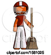 Orange Football Player Man Standing With Broom Cleaning Services