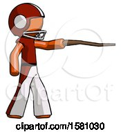 Orange Football Player Man Pointing With Hiking Stick