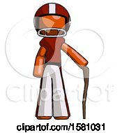 Orange Football Player Man Standing With Hiking Stick
